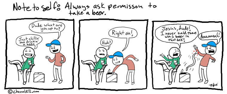Ask before taking a beer.