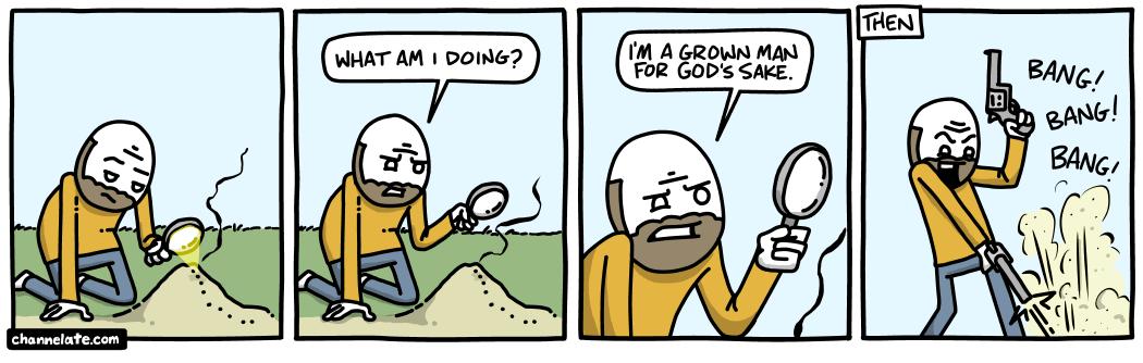 Killing ants.