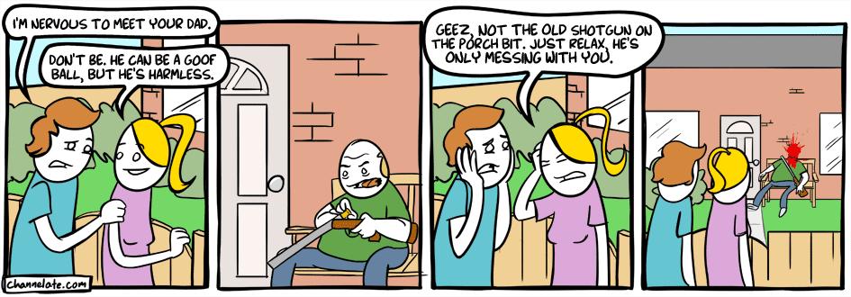 Meeting her dad.
