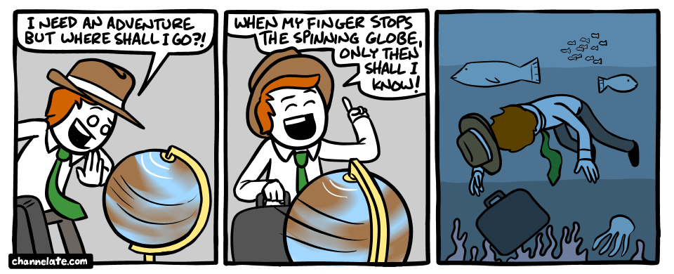 Spinning the globe.