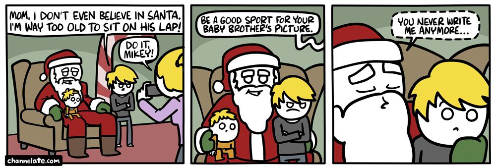 Santa's lap.