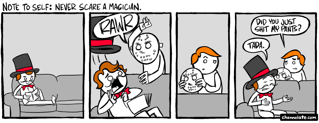 Scared magician.
